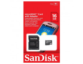 MEMORY CARD 16GB MICRO SDHC 1 CLASSE 4 C/ADAP SDSDQM-016G-B35A SANDISK - 1