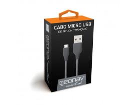 CABO MICRO USB 1.0MT NYLON TRANÇADO ESSENTIAL CINZA ESMISG GEONAV - 1