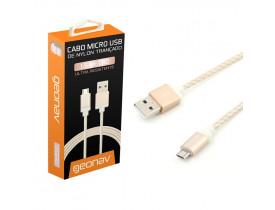 CABO MICRO USB 1.50MT NYLON TRANCADO GOLDEN MIC15G GEONAV - 1