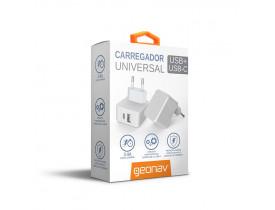 CARREGADOR PAREDE UNIVERSAL SAIDA USB E USB C 3.4A CH34ACC GEONAV - 1