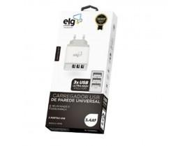 CARREGADOR DE PAREDE UNIVERSAL BIVOLT 3 SAÍDAS USB 3.4A 2X1A E 2.4A  PARA CARGA RÁPIDA  WC3S ELG - 1