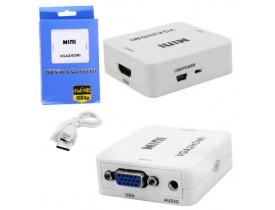 ADAPTADOR CONVERSOR VGA F X HDMI F COM AUDIO AD0414 GLOBAL - 1