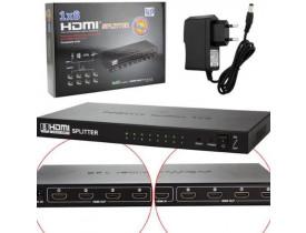 DISTRIBUIDOR HDMI SPLITTER 1 X 8 SAIDAS 3D VERSÃO 1.4 1080P OEM - 1